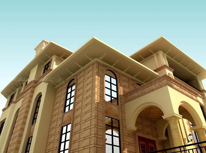 围墙大门柱子效果图 3d瓷砖背景墙效果图 围墙大门柱子效